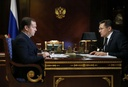 Russian Prime Minister Dmitry Medvedev meets with Rosatom head Alexei Likhachyov