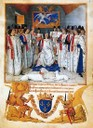 FOUQUET, JEAN: King Louis XI presides a chapter meeting of the  Order of Saint Michel.