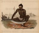 Indian Shell-cutter: He is holding the shell with his feet and cutting through it