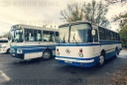 Chernobyl zone, restricted territory, buses for employees of nuclear power plant