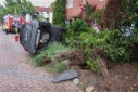 18-year-old crashes into front garden