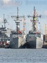 Two former US frigates of the OH Perry class in Kiel