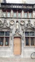 Ornamental relief sculptures on the fa軋de of Bruges City Hall 1376.