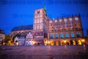 Stralsund town hall in the evening