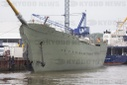 "Naval training ship ""Gorch Fock"" is lifted out of the water"