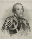 Hernan Cortes (1485-1547). Spanish conquistador of the Aztec empire. Lithography.  Drawing by Jose Cebrian (1839-1904). Cronica