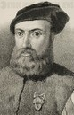 Ferdinand Magellan (1480-1521). Portuguese navigator and explorer. Drawing by J. Cebrian. Lithography. Portrait, detail. Cronica