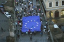March to Hradcanske Square, demonstration, Million Moments for Democracy, Charles Bridge, EU flag