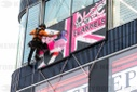 Street Artist Alec Monopoly Abseils Down The Flannels Store On Oxford Street To Launch Its Opening And Celebrate Fashion, Art An
