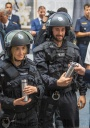 Bavarian riot police provide drinking shakes for operations