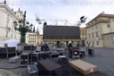 Karel Gott, mourning ceremony, large-scale screen, Hradcany square, Prague Castle