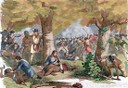 American Revolutionary War (1775-1783). Battle of Oriskany (August 6, 1777). Fight between Loyalists and allied Indians against