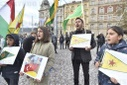 another protest against Turkish invasion of Syria held in Prague, YPG flag
