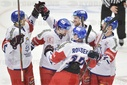 Czech players celebrate goal