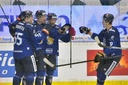 Finnish players celebrate the second goal