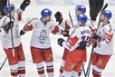 Czech players celebrate the first goal