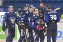Finnish players celebrate  goal