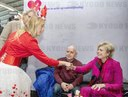 Princess Laurentien during the real contact action where famous Dutch people start a good conversation with train travelers