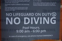 "Sign ""No Lifeguard on Duty no Diving"""