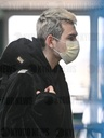 A passenger wearing face mask at the Brno Turany Airport