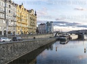 Dancing House (Ginger and Fred), bridge, Jiraskuv most, water, river Vltava,