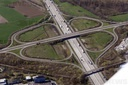 Aerial view motorway junction Karlsruhe-Mitte