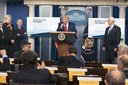 United States President Donald J. Trump participates in a news briefing by members of the Coronavirus Task Force