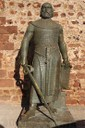 Sancho I (1154-1212). King of Portugal. Statue of King next to the castle entrance. Silves. Algarve. Portugal.