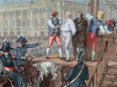 French Revolution. Execution of King Louis XVI (1754-1793) on January 21, 1793. Colored engraving.