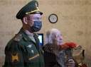 Military personnel congratulate Great Patriotic War veteran on upcoming Victory Day