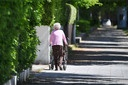 Pensioner, old woman pushes rollator.