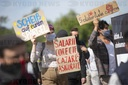 Protest by seasonal workers on asparagus farm