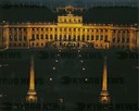 "Schoenbrunn Palace (1690-1747) at night with the "" Gloriette"" -gallery in the background."
