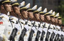 A parade formation of China's People's Liberation Army marches along Red Square