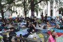 Protesters camp out in front of City Hall in NYC