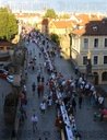 Dinner at 500 metre long table, Charles Bridge, Prague, citizens, Vltava River