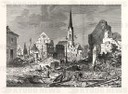 Franco-Prussian War: The devastation in the main street of Kehl, an open city by, French batteries Strasbourg.