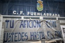 The Fernando Torres stadium in Fuenlabrada (Madrid) is filled with posters supporting his team