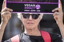 Happening and demonstration of Impact Vegan association to denounce the throat slitting and slaughter of animals. .