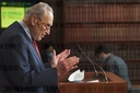 Senate Minority Leader Charles Schumer, D-NY, offers remarks regarding the ongoing negotiations with the COVID-19