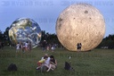 giant inflatable model of the Moon and the planet Earth