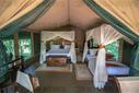 Interior of a luxurious tent cabin for tourist in Maasai Mara National Reserve