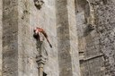 Artists from the company ''In Fine'' perform aerial dance on the ruined nave of the Saint-Mathurin Church..