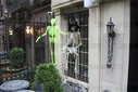 Halloween decorations begin in New York.