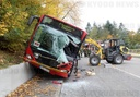 Accident between wheel loader and public bus