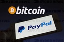 Logos of PayPal and Bitcoin